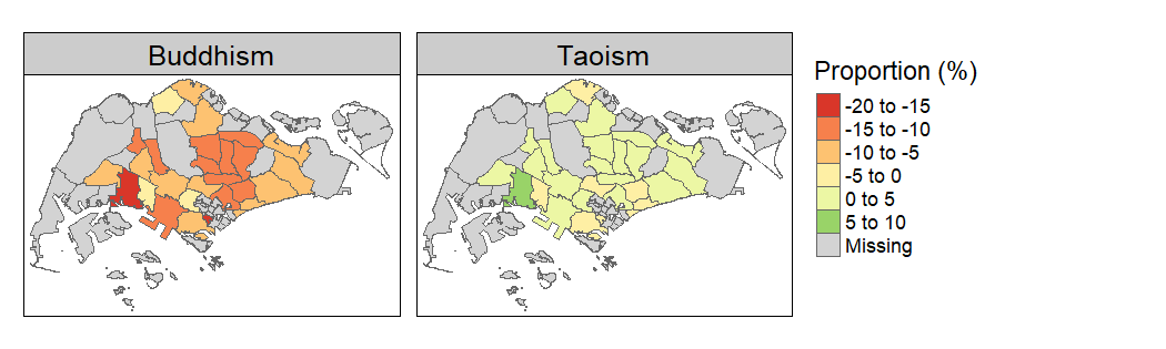 Change in Buddhism / Taoism Share (2000-2015)