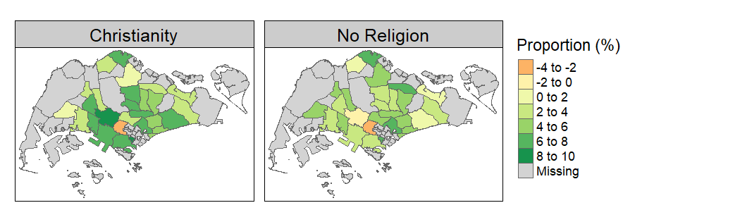 Change in Christianity / No Religion Share (2000-2015)