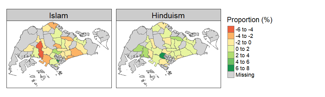 Change in Islam / Hinduism Share (2000-2015)